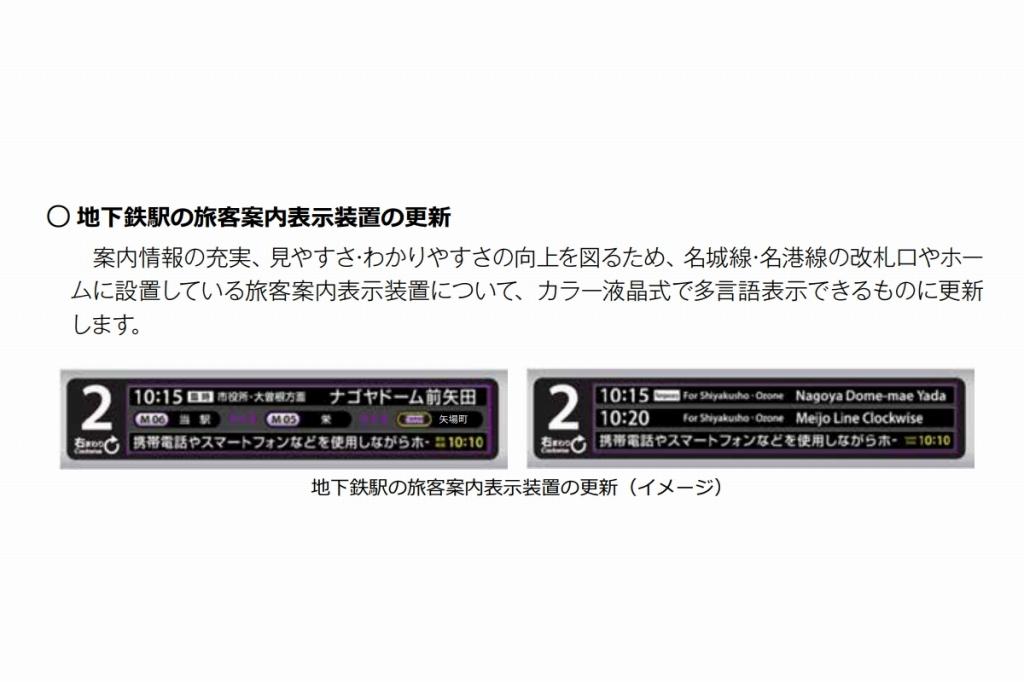 【名古屋市営地下鉄】名城線の発車標を液晶式へ…多言語表記を目的