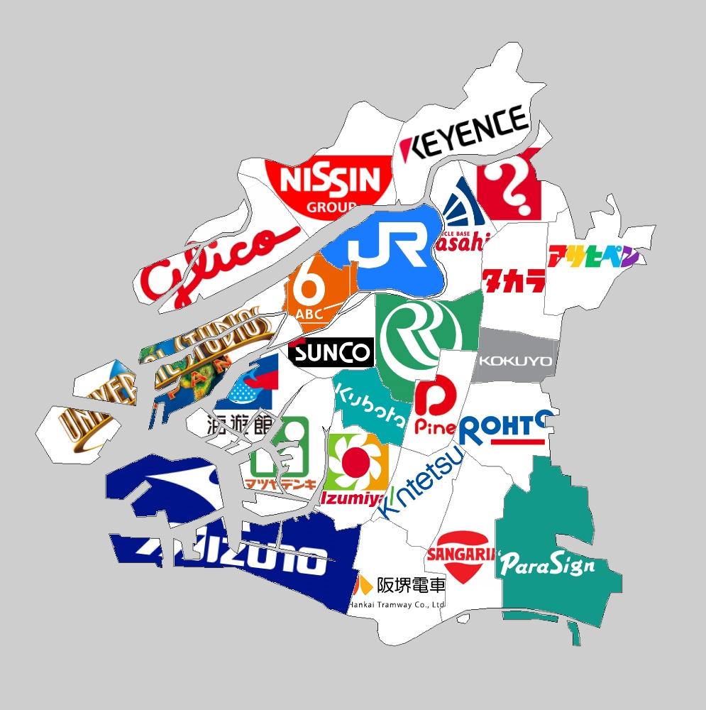 大阪市24区を代表する企業で地図を作ってみました