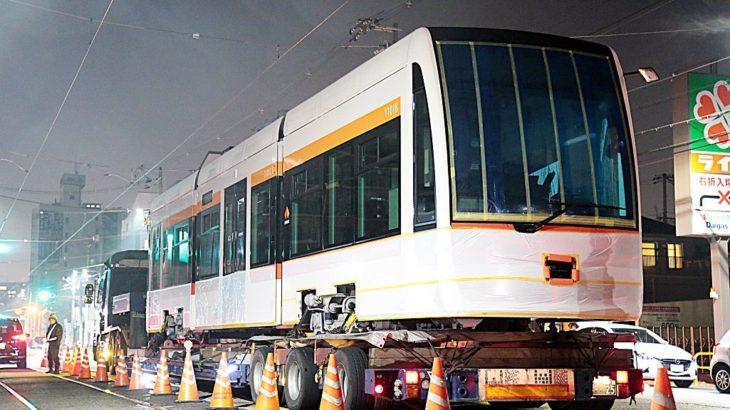 【阪堺】新形式「1101」?超低床車の新型車両4編成目が陸送搬入